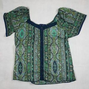 Blue Rain Floral Green and Blue Silk Blouse Sz L